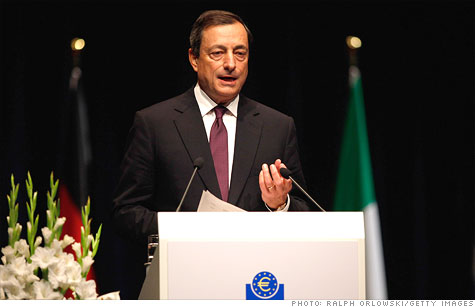 New ECB President Mario Draghi said Thursday Europe is heading towards a mild recession by the end of the year.