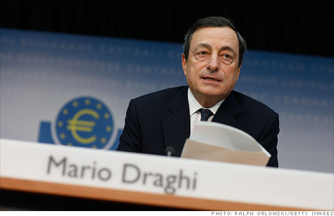 ECB president Mario Draghi at a Nov. 3 press conference after the bank lowered interest rates and warned of a mild recession in Europe.