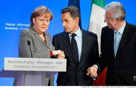 Germany's Angela Merkel, France's Nicolas Sarkozy and Italy's Mario Monti are reportedly working on a new fiscal plan for the eurozone.