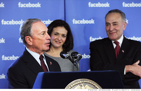 New York City Mayor Mike Bloomberg joined Facebook COO Sheryl Sandberg at an event announcing Facebook's expansion of its local office.