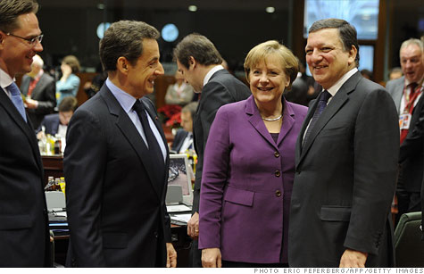 Finland Prime Minister Jyrki Katainen, France President Nicolas Sarkozy, Germany Chancellor Angela Merkel and European Commission President Jose Manuel Barroso ahead of the summit.