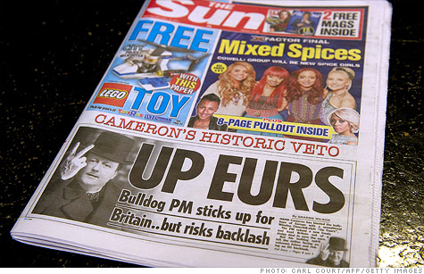 A copy of British top-selling tabloid the day after European leaders hashed out a deal to resolve the debt crisis that was soundly rejected by the UK.
