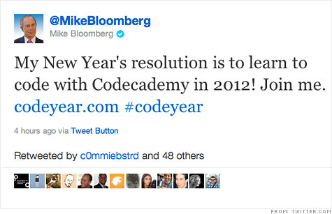 Mayor Mike Bloomberg is among the thousands who signed on for weekly coding lessons in 2012.