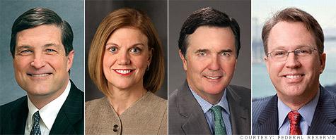 The new voting members of the FOMC: Federal Reserve presidents Jeffrey Lacker of Richmond, Sandra Pianalto of Cleveland, Dennis Lockhart of Atlanta,and John Williams of San Francisco.