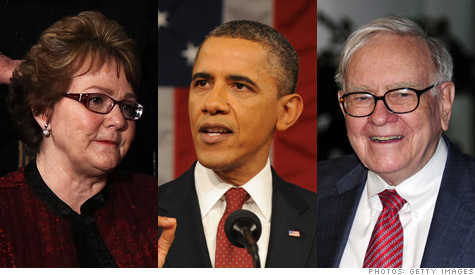 President Obama further defined the millionaire tax (aka 'Buffett rule') during his State of the Union address. In attendance: Debbie Bosanek, secretary to billionaire investor Warrren Buffett.