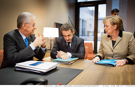 The leaders of Italy, France and Germany met this week in Brussels to work on solutions to Europe's debt crisis.
