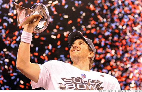 Giants' quarterback Eli Manning is poised for a big jump in his endorsement income after winning Sunday's Super Bowl.