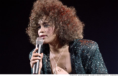 Whitney Houston's music has soared to the top of the charts, rivaled only by Grammy winner Adele Adkins, following her death this weekend.