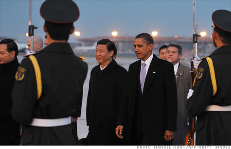 International relations: U.S. President Obama meets China's Vice President Xi Jinping at an airport in Beijing in 2009.