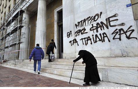 Greek citizens have been protesting the proposed budget cuts with public protests and grafitti.