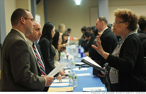 Job seekers attend a career fair in New York City.