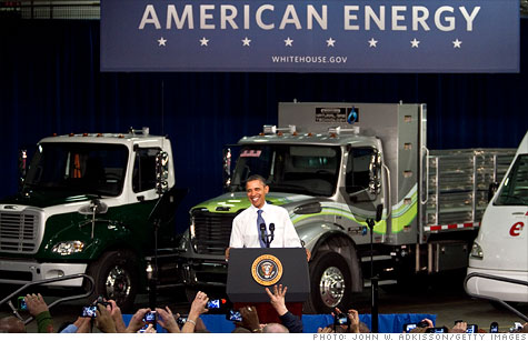 Speaking at a Daimler truck factory, President Obama proposed a broad set of intiatives for alternative-fuel vehicles.