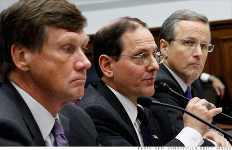 Freddie CEO Charles Haldeman, left, FHFA acting director Edward DeMarco, center, and Fannie CEO Michael Williams testified before Congress in December.