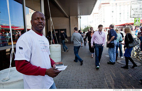 Homeless Austin resident Mark West is working as a 4G mobile hotspot outside SXSW.