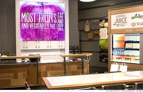 Starbucks' first juice bar uses its new Evolution Fresh brand.
