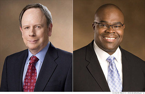 Jim Skinner, left, is retiring as CEO of McDonald's and will be succeeded by company president Don Thompson, right.