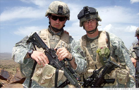 Army vet Chris Cowan, right, served with