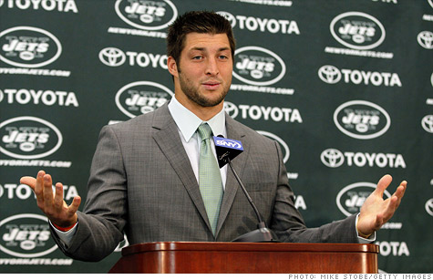 A federal judge has ordered Reebok to stop selling apparel with the names of both Tim Tebow and his new team, the New York Jets.