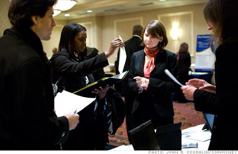 Job seekers at a recent jobs fair in New York City.