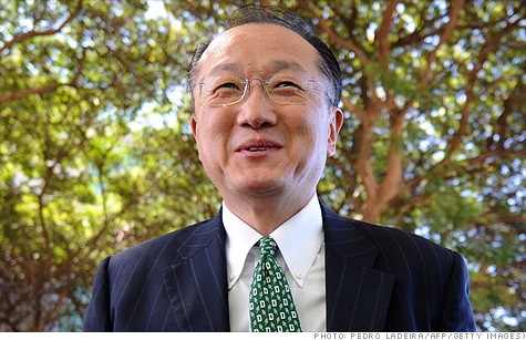 Jim Yong Kim was tapped Monday by the World Bank to be its next president, besting Nigerian finance minister Ngozi Okonjo-Iweala following what was the first-ever challenge to the U.S. nominee in the institution's history.