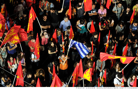 Greek protestors calling for the country to leave the eurozone.