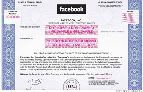 Facebook included this stock certificate mock-up in its IPO filing, but it no longer plans to issue paper certificates.