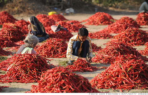 Indian workers prepare red chillies at Sertha village. The country's agricultural sector slowed in the first quarter.