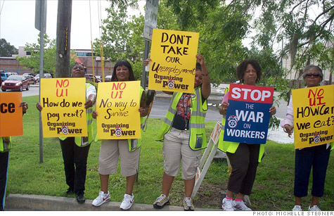 School bus drivers in Savannah, Ga. protest a new state rule that restricts them for applying for unemployment benefits when school is out of session.