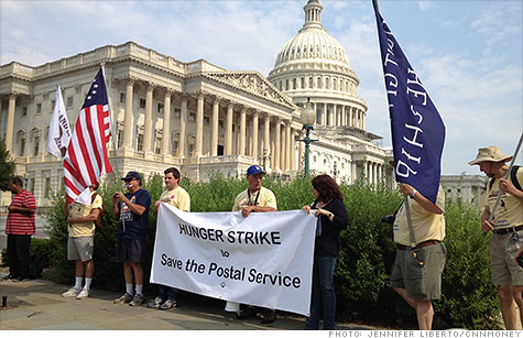Postal workers begin their hunger strike to protest cuts to the Postal Service.