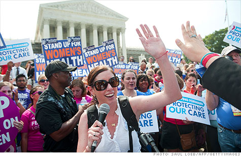 Affordable Care Act supporters cheer Supreme Court decision on Thursday to uphold health reform law.