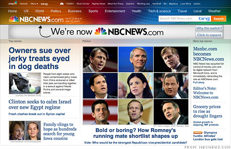 NBC rebranded its MSNBC.com website as NBCNews.com, after it bought out Microsoft's stake.