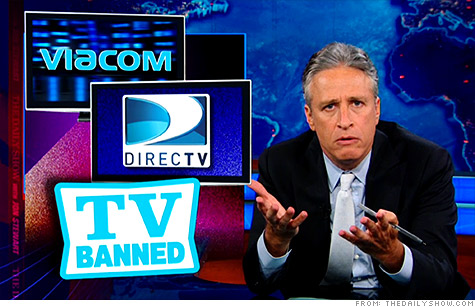 Jon Stewart took potshots at both Viacom and DirecTV in his Monday night episode of