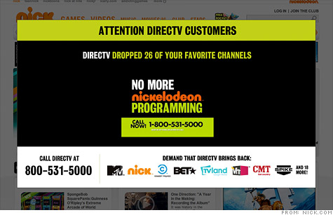 Viacom -- which owns Nick, MTV and other properties -- says its talks with DirecTV are at an impasse.
