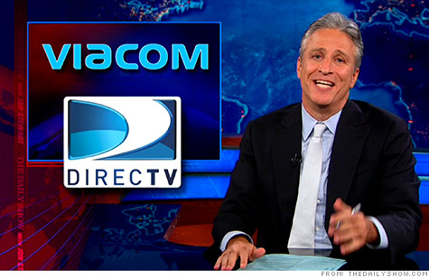 Viacom and DirecTV have hatched a deal and ended their programming blackout, so subscribers can once again watch Comedy Central's 'The Daily Show' with Jon Stewart (above), MTV's Jersey Shore, and more than a dozen other channels.