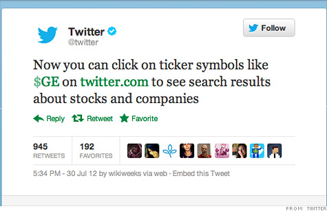 Twitter Unveils Cashtags To Track Stock Symbols Jul 31 2012