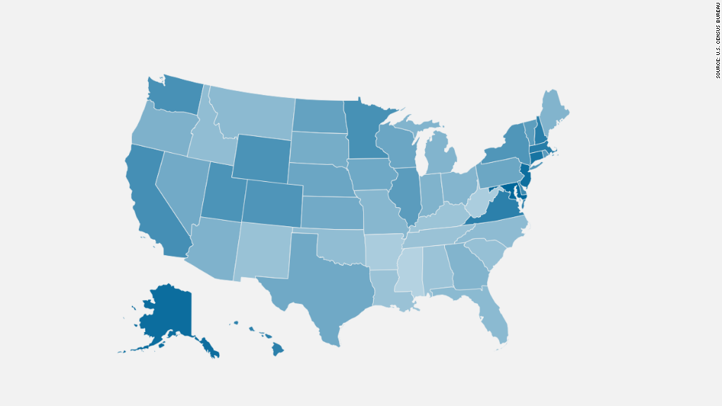 map, median household income