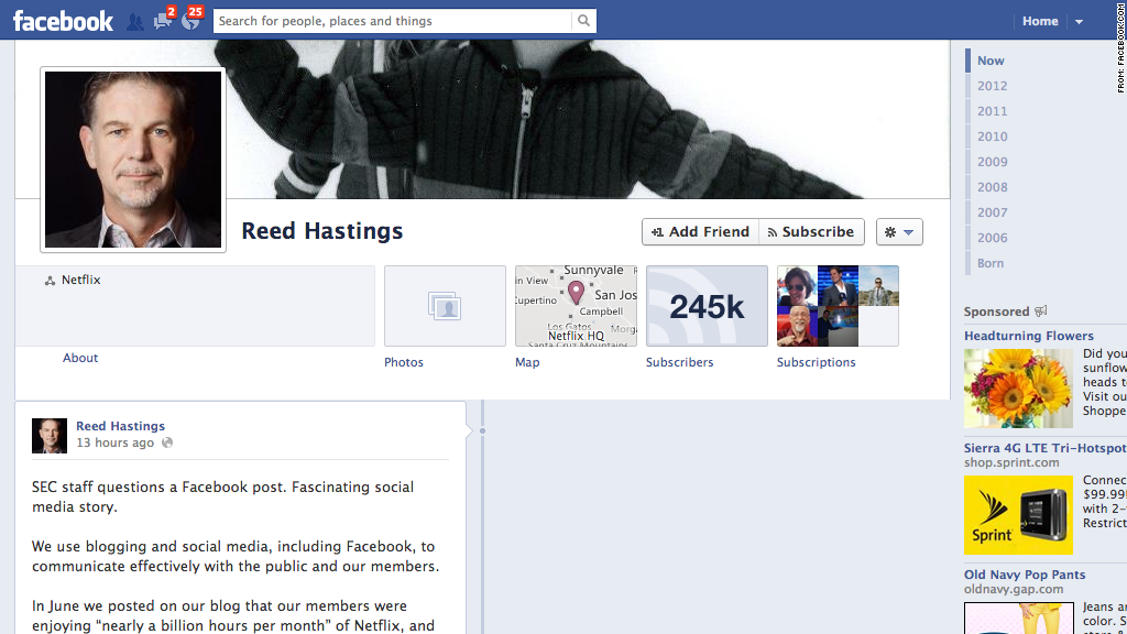 reed hastings facebook page