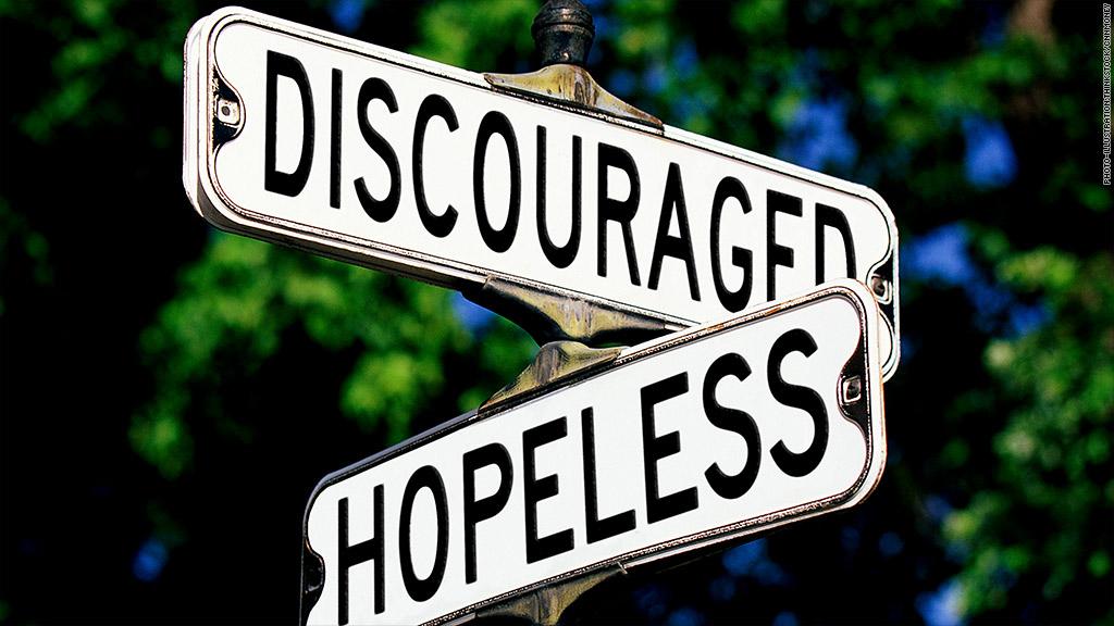 hopeless discouraged jobs street sign