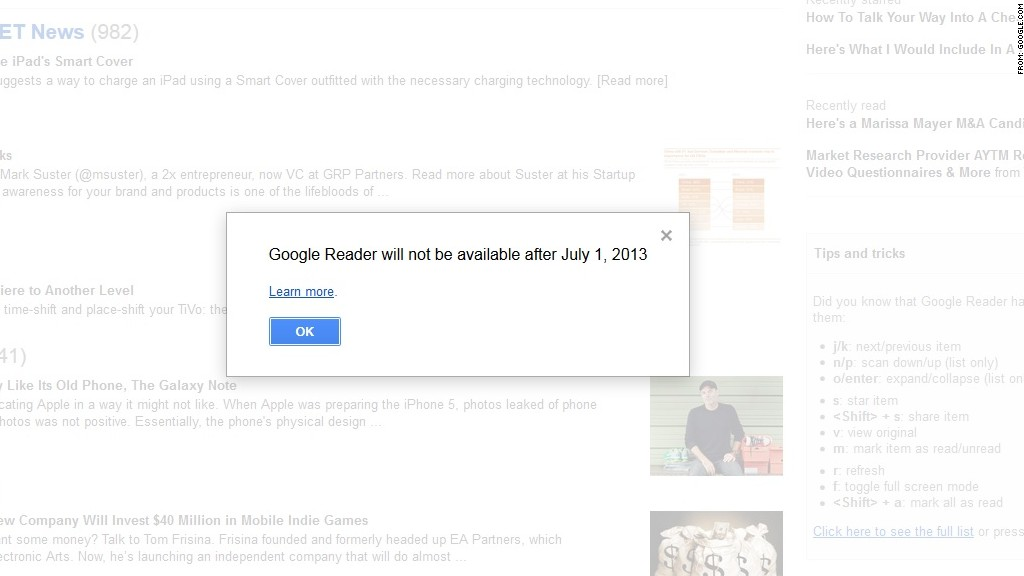 google reader shut down