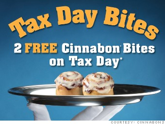 tax day freebies cinnabons