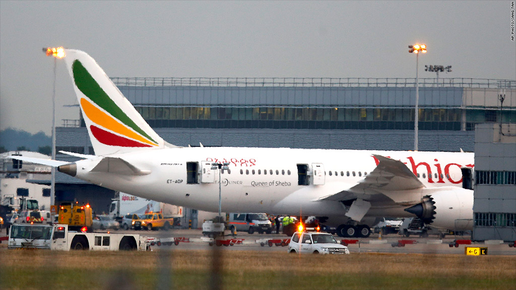 ethiopian airlines heathrow fire