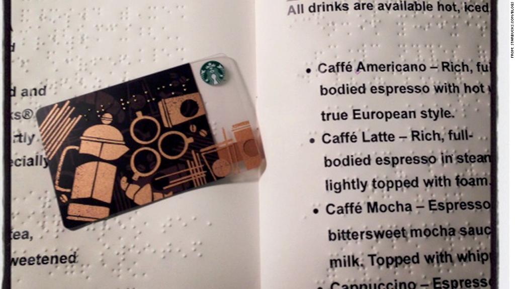 starbucks braille gift card