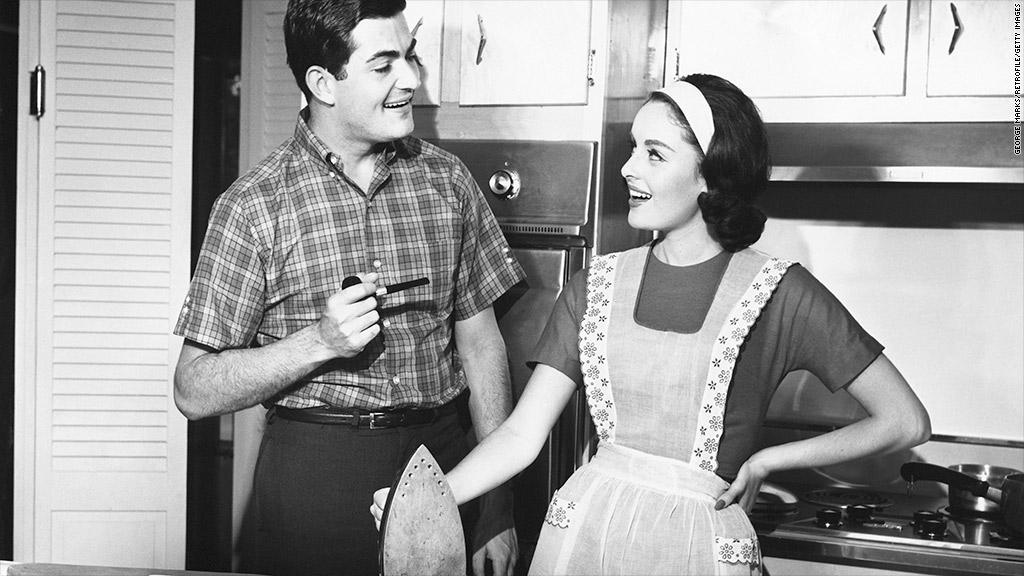 vintage couple ironing