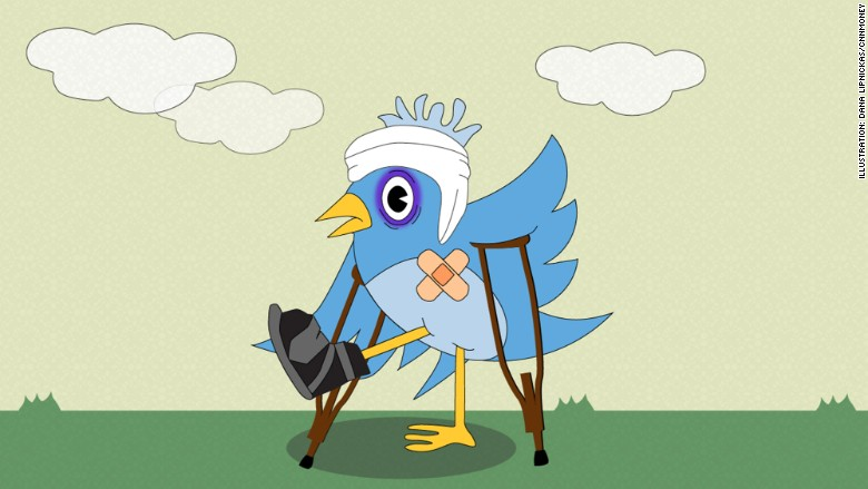 wounded twitter bird