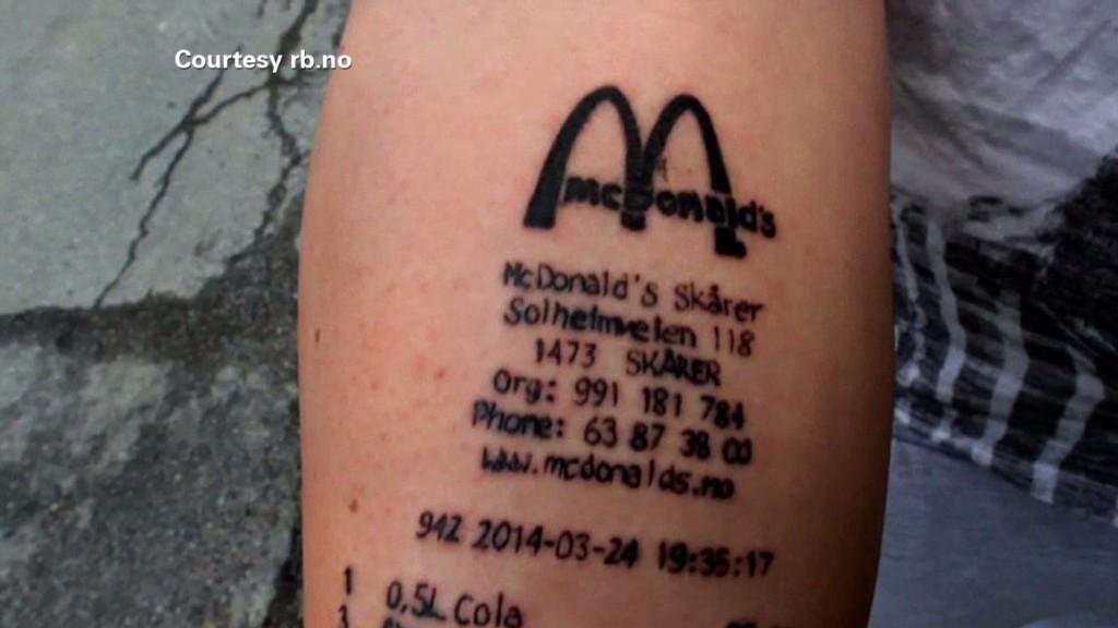 You got a tattoo of a McDonald's receipt?