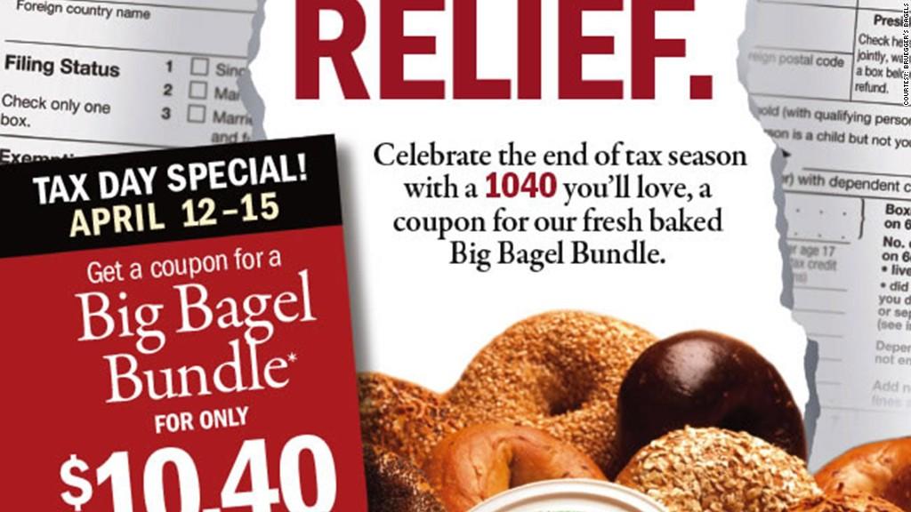 tax day deals brueggers bagels
