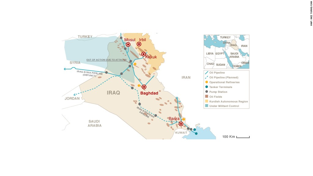 map iraq oil