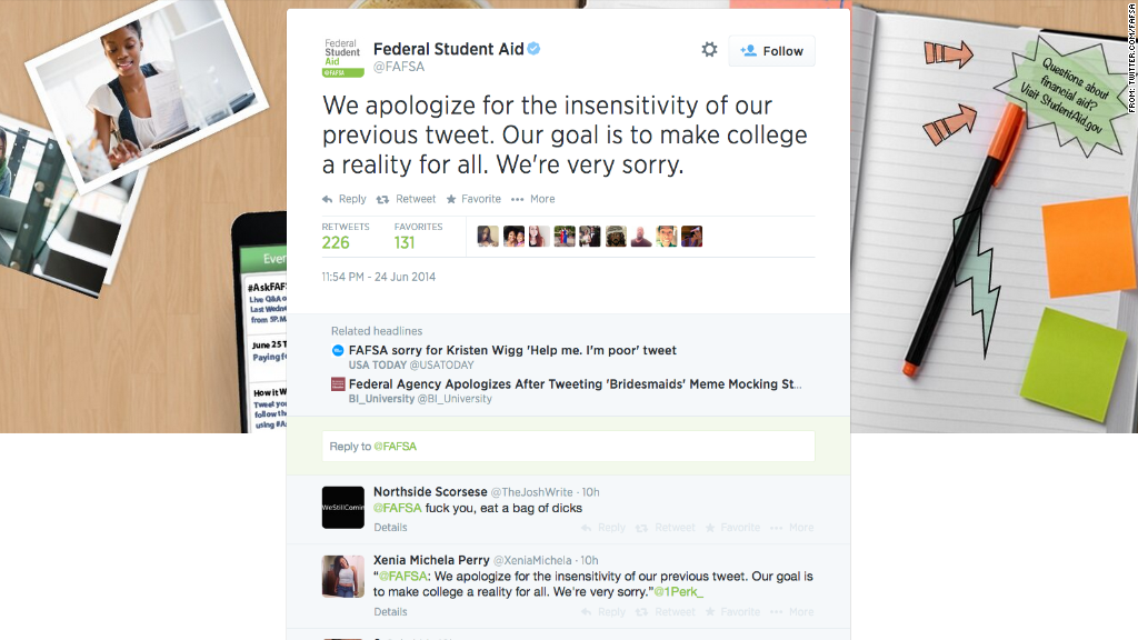 fafsa tweet apology