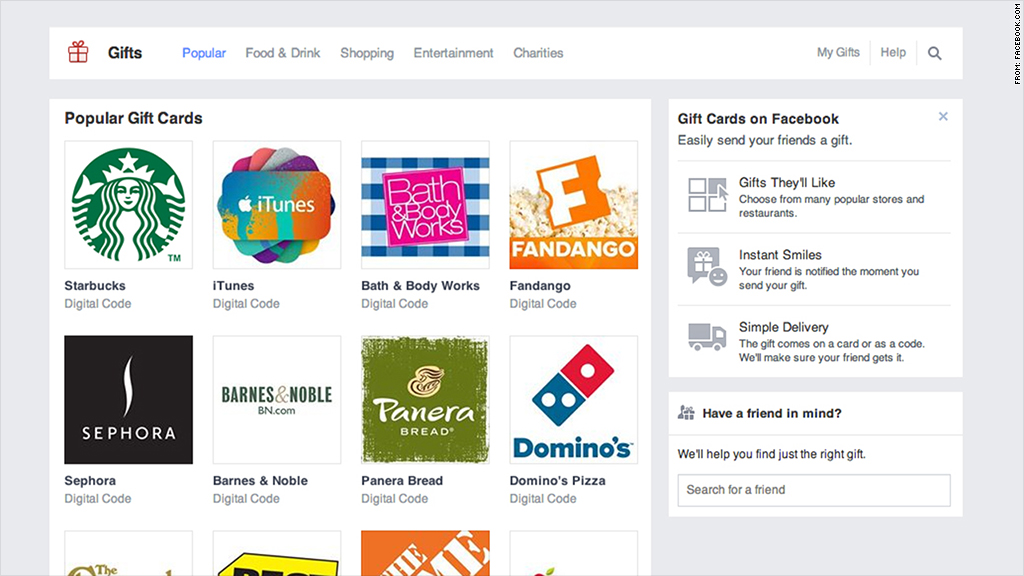 facebook discontinue gift service