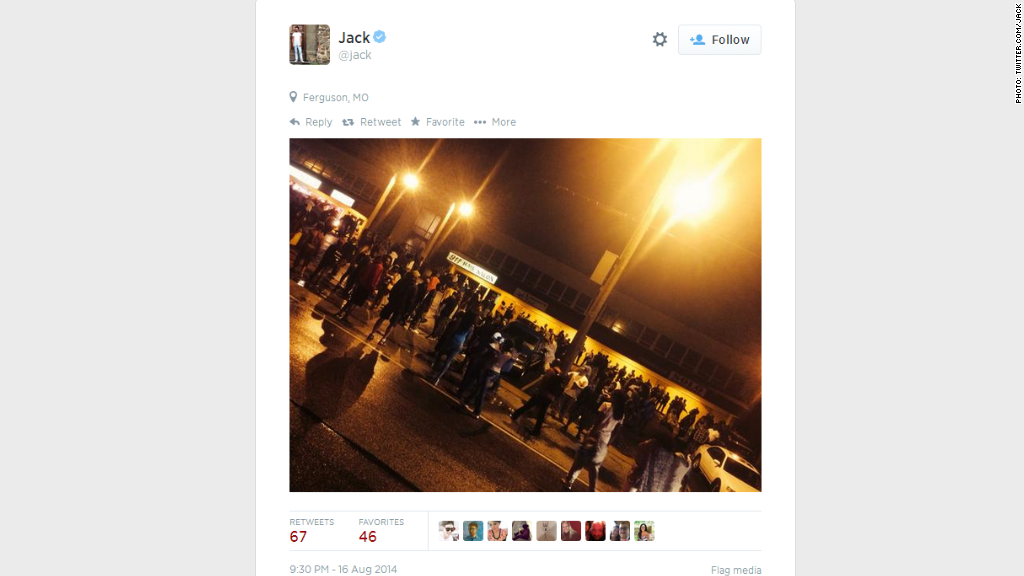 Twitter co-founder Jack Dorsey live-tweets protests in Ferguson